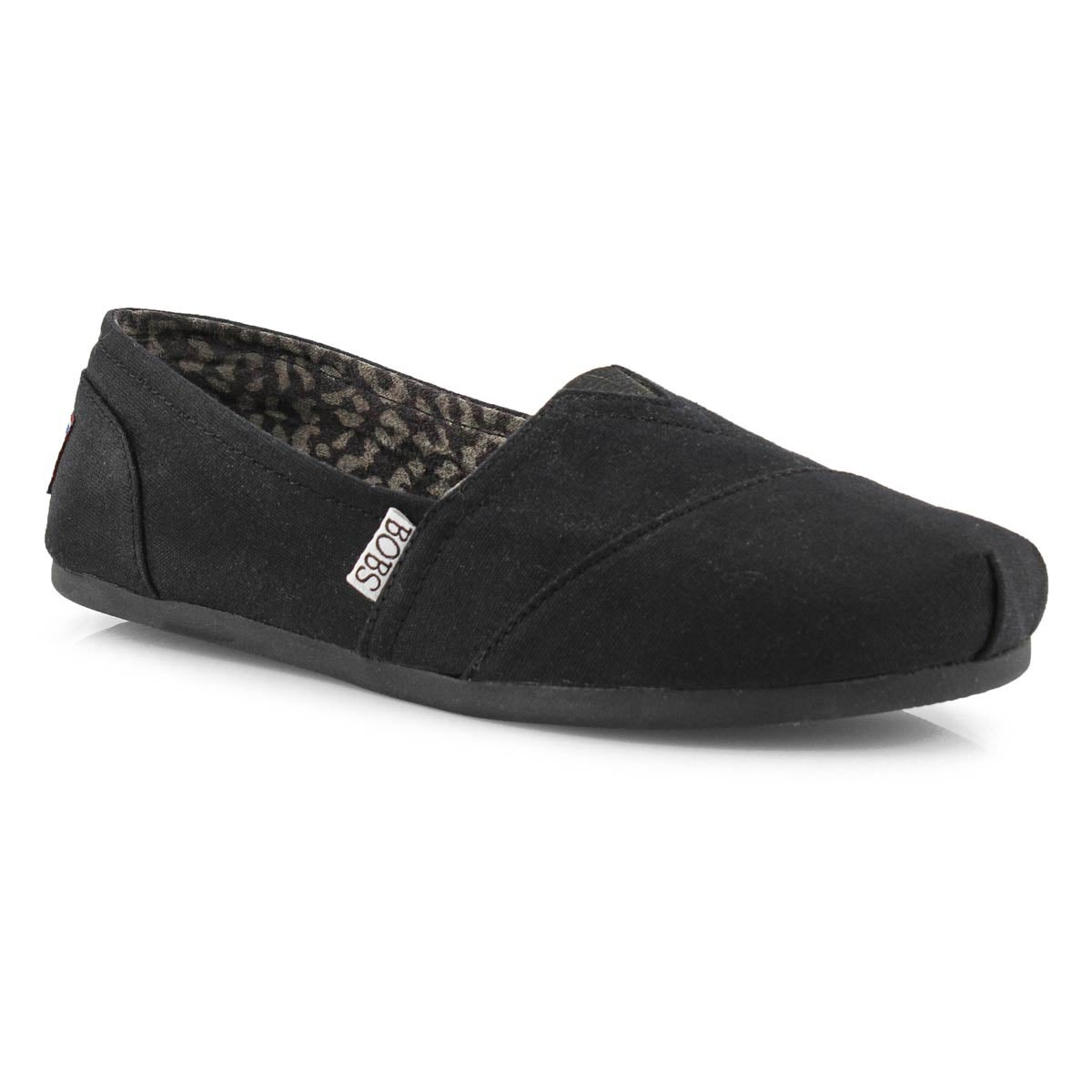 Lds Plush Peace& Love blk canvas slip on