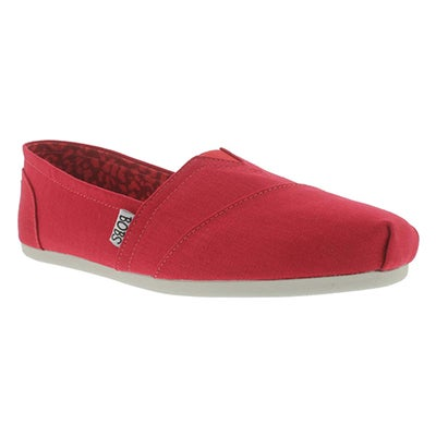 Skechers Women's PLUSH PEACE & LOVE red canvas slip ons