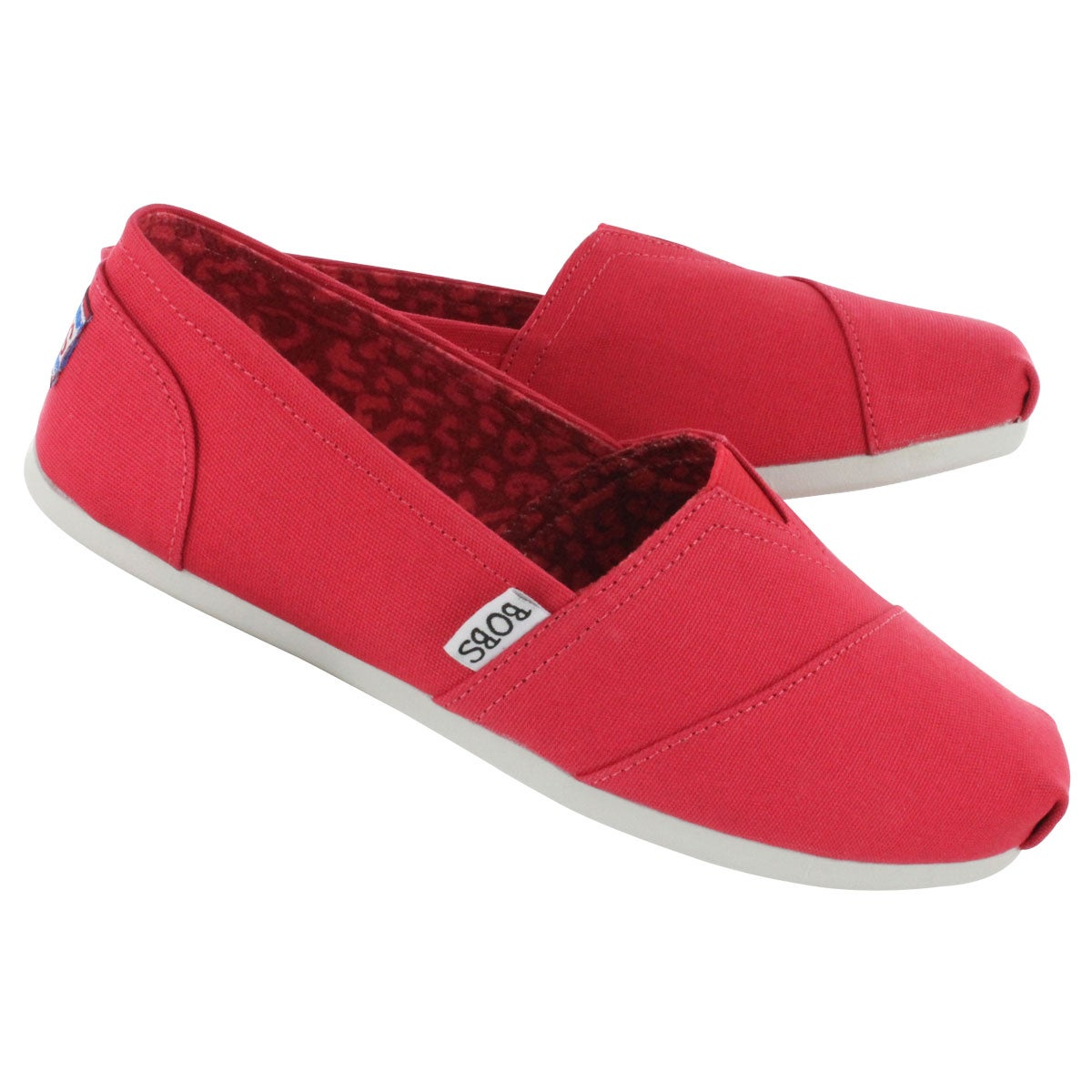 Lds Plush Peace& Love red canvas slip on