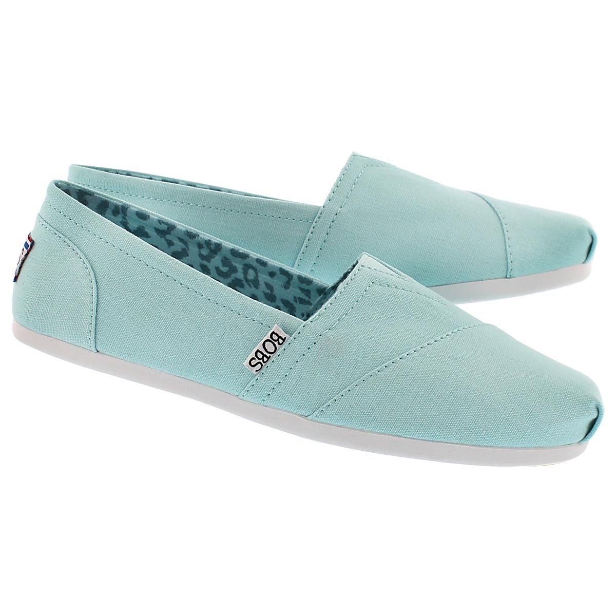 Lds Plush Peace& Love blu canvas slip on