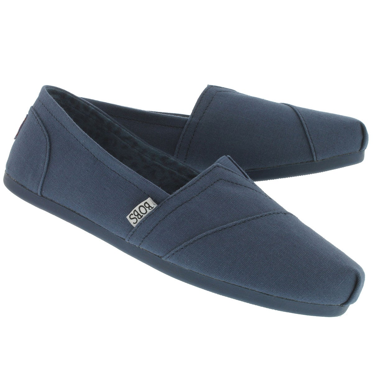 Lds Plush Peace& Love nvy canvas slip on