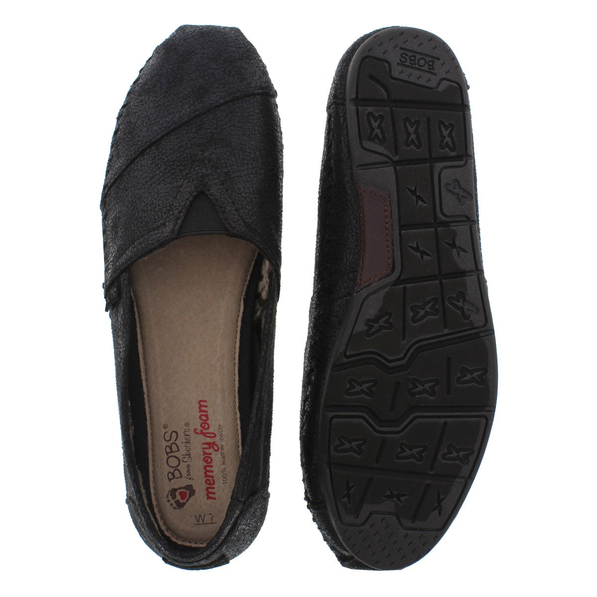 Lds Luxe Bobs Rain Dance blk slip on