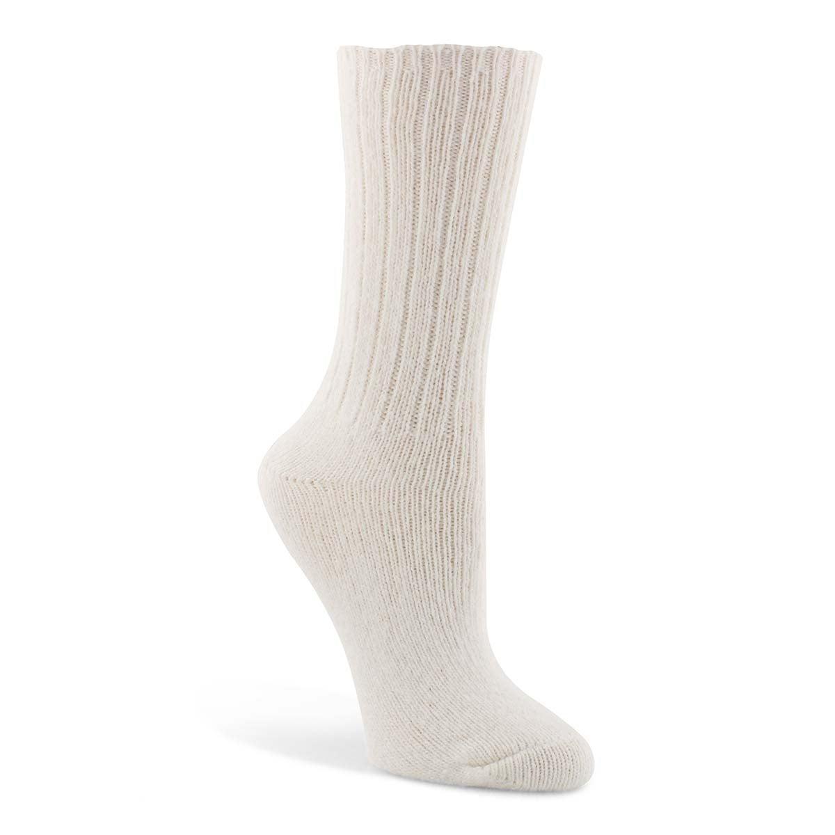 Lds Duray white 3/4 crew sock
