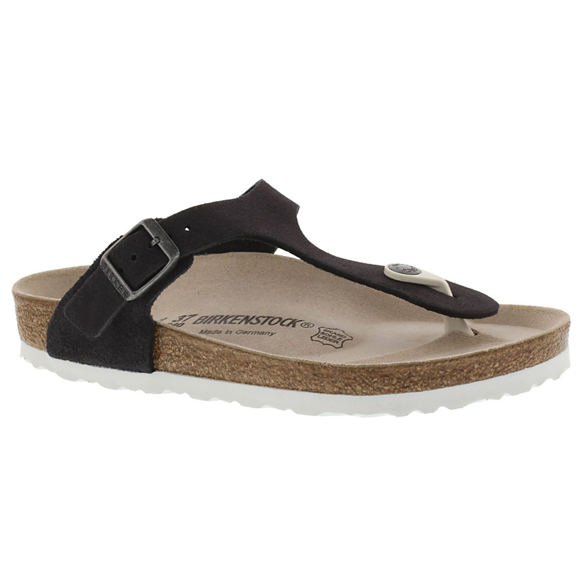 Lds Gizeh charcoal suede thong sandal