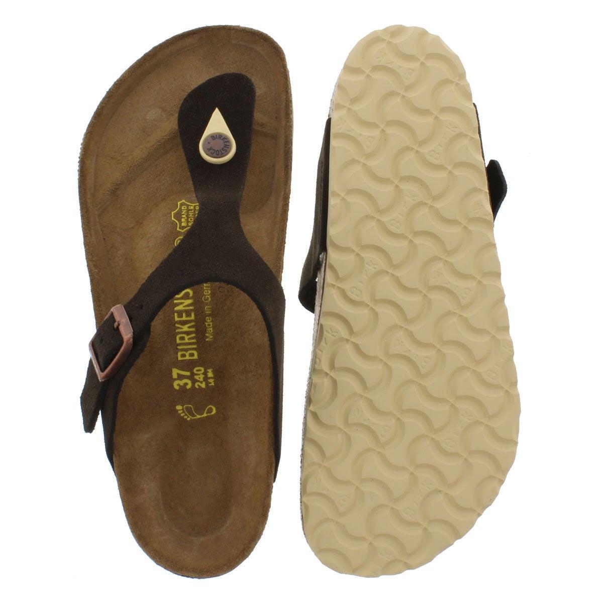 Lds Gizeh mocha suede thong sandal