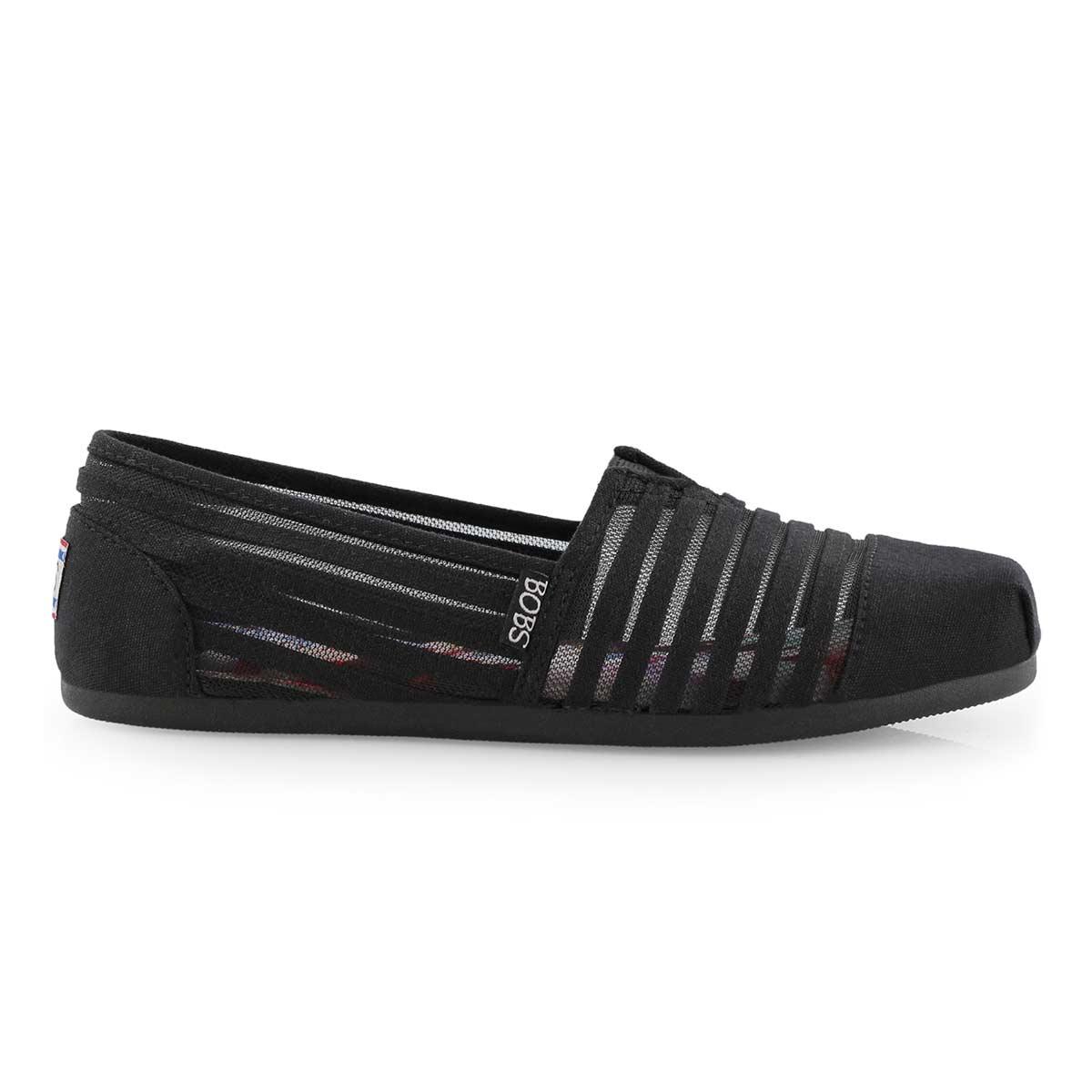 Lds Bobs Plush Adorbs blk slip on shoe