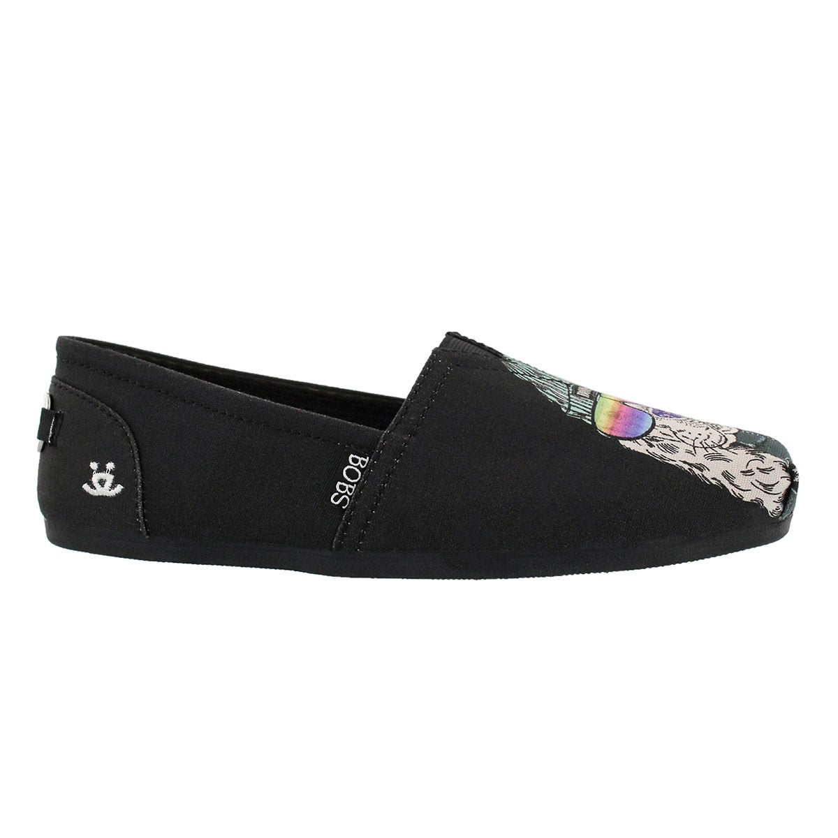 Lds Bobs Plush Outpaws black pug slip on