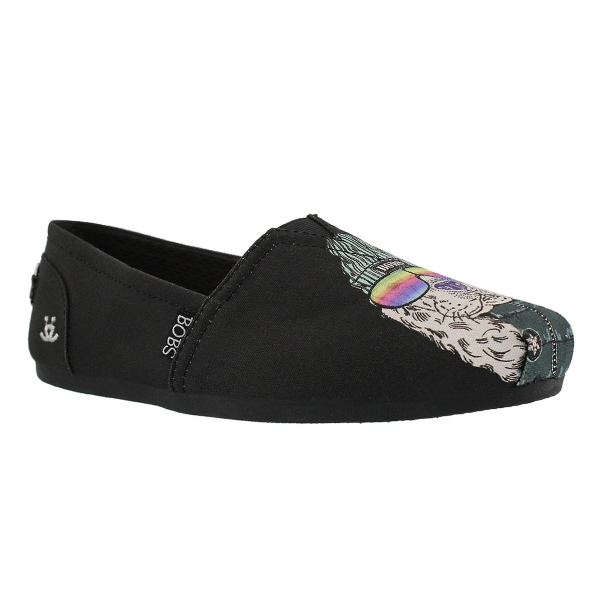 Women's BOBS PLUSH OUTPAWS black pug slip ons