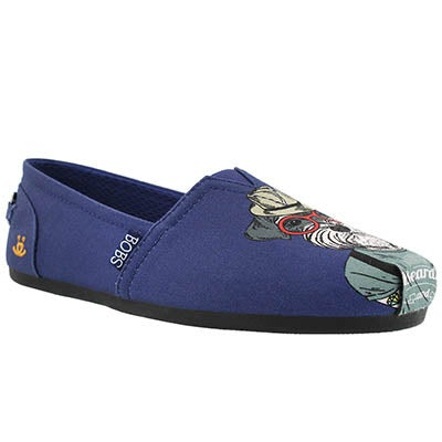 Lds Bobs Plush Outpaws navy pug slip on