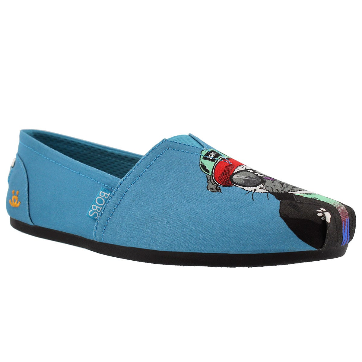 Women's BOBS PLUSH OUTPAWS teal pug slip ons