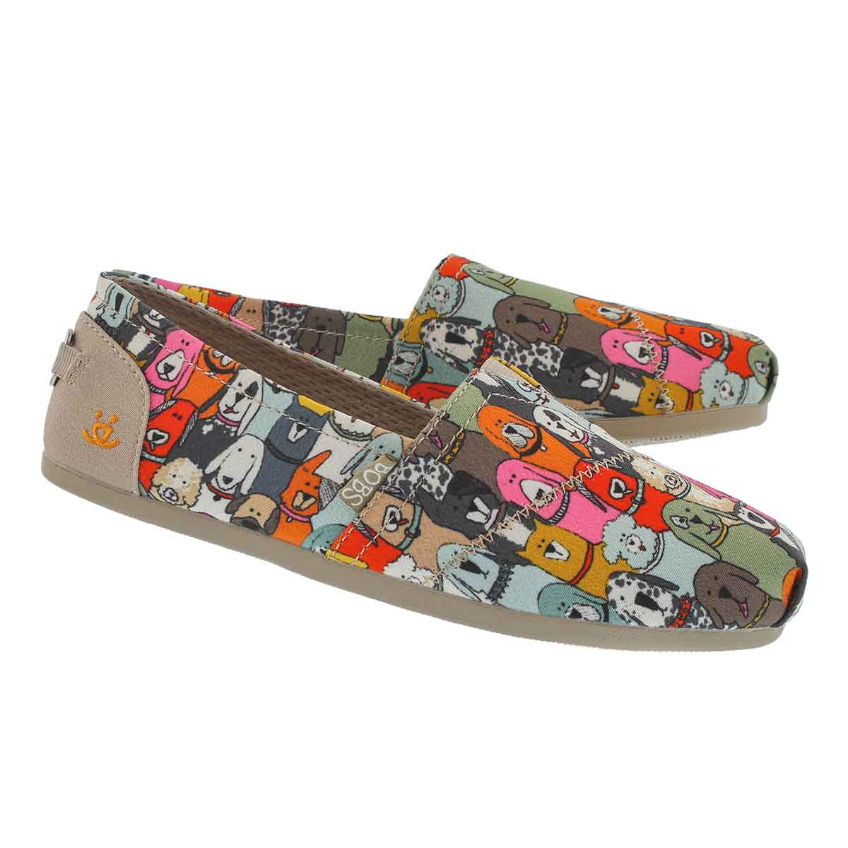 Lds Bobs Plush Wag Party mlti slip on