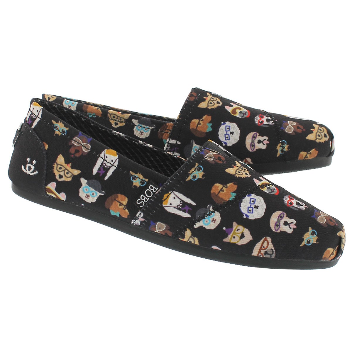 Lds Bobs Plush Pup Smarts blk slip on