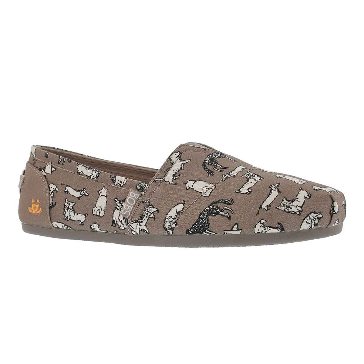 Women's BOBS PLUSH DREAM DOODLE taupe slip ons