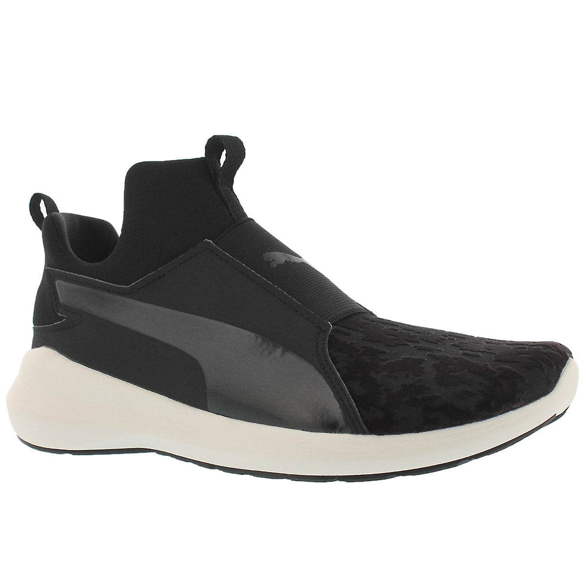 Women's REBEL MID VELVET ROPE blk slip on sneakers
