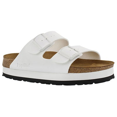 Birkenstock Women's ARIZONA platform white sandal - NARROW