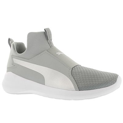 Lds Puma Rebel Mid quarry/silver sneaker