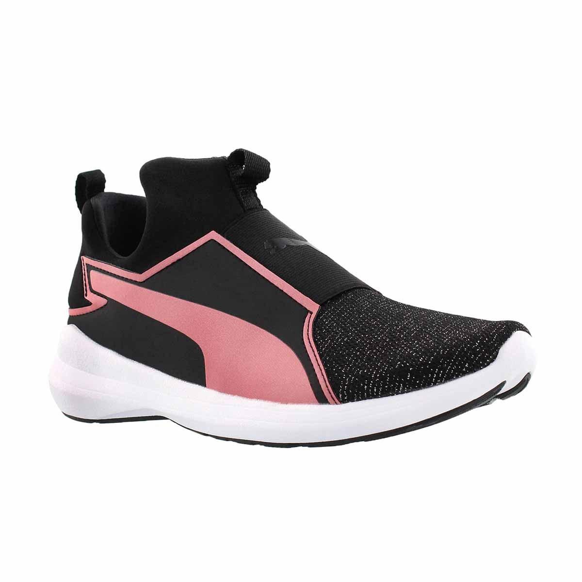 Girls' REBEL MID GLEAM JR black/pink slip sneakers