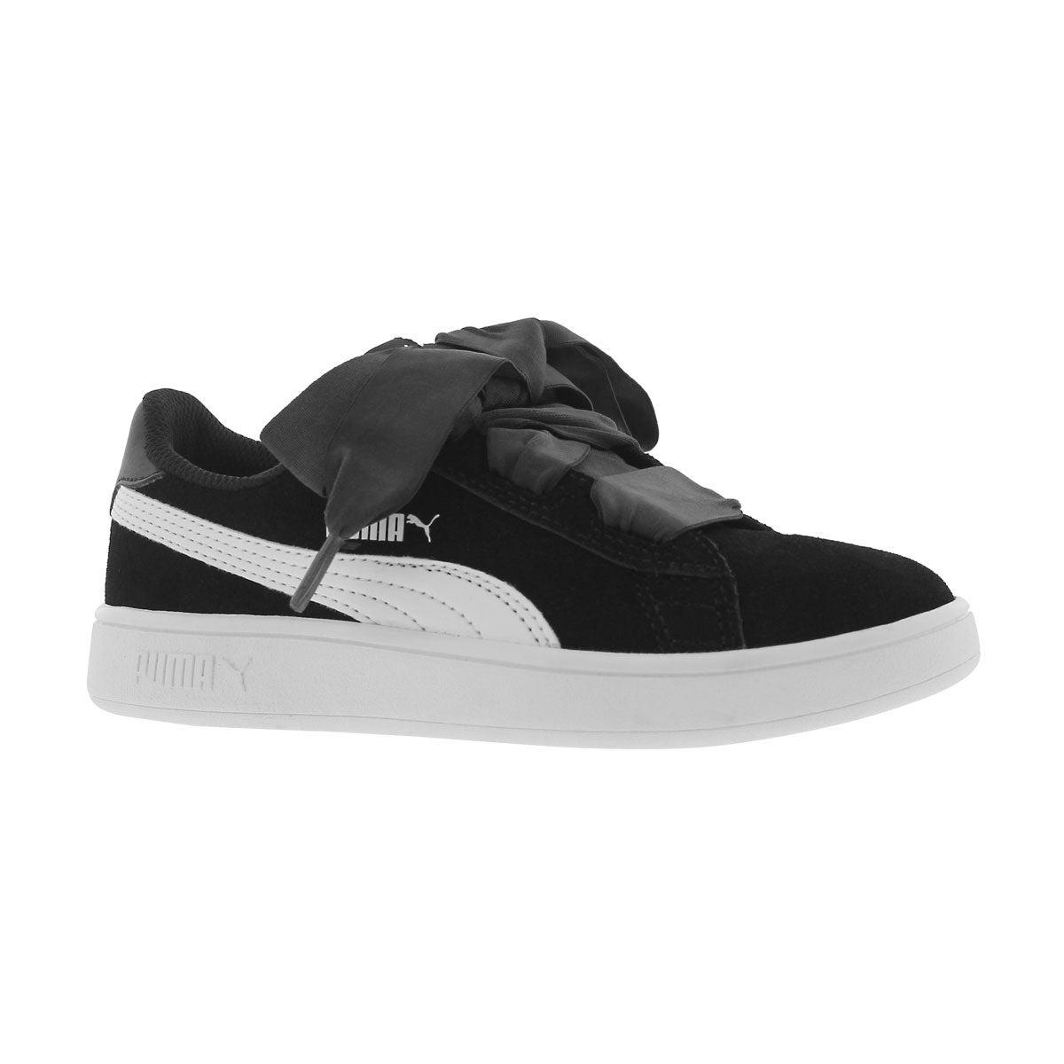 Girls' PUMA SMASH V2 RIBBON blk/wht sneakers