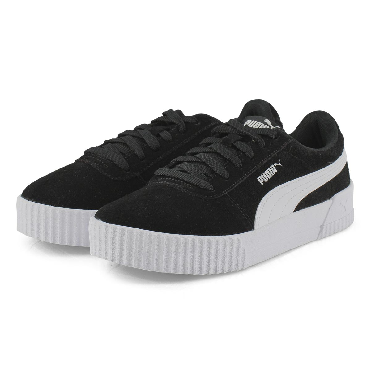 Lds Carina blk/wht lace up sneaker