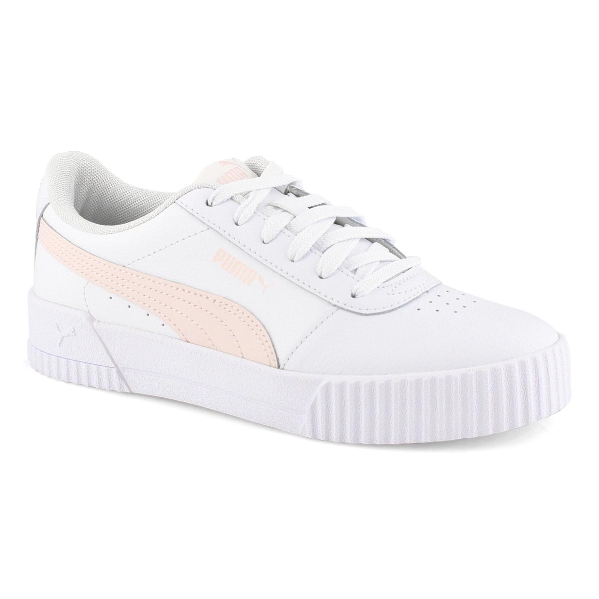 Lds Carina L wht/pnk lace up sneaker