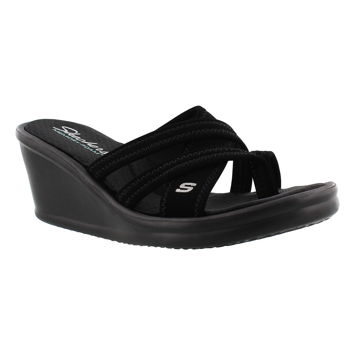 Women's YOUNG AT HEART black wedge sandals
