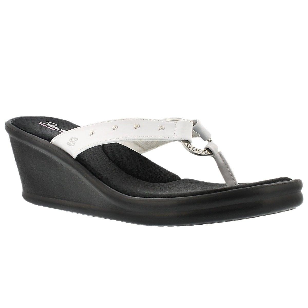 Lds Rumblers wht stud thong wedge sandal