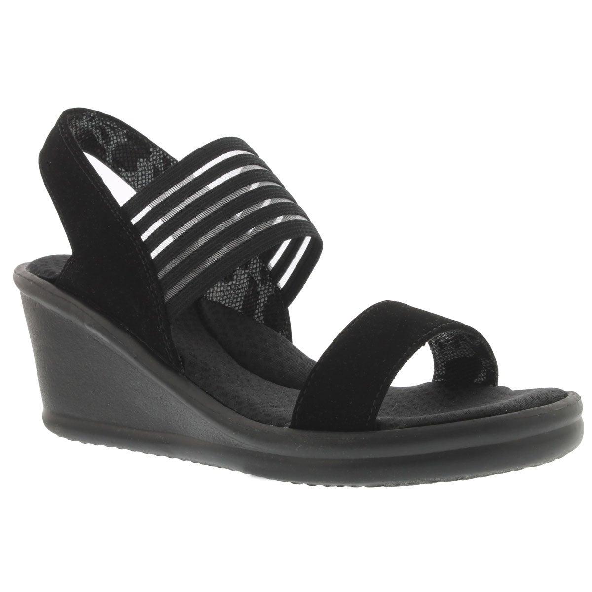 Lds Sci-fi blk sling back wedge sandal