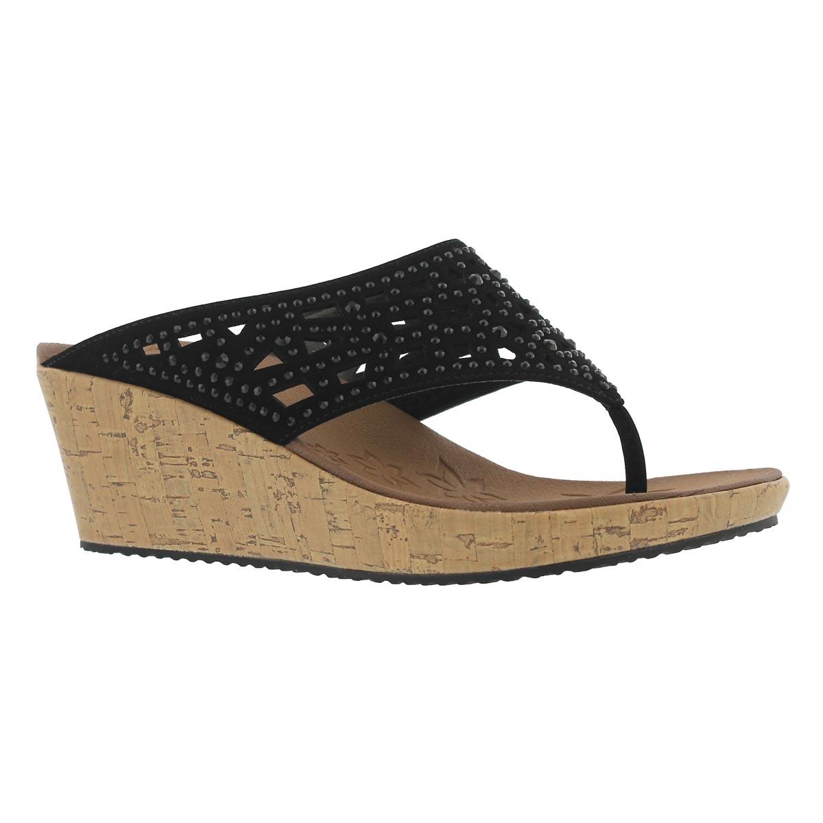 Women's BEVERLEE DAZZLED blk thong wedge sandals