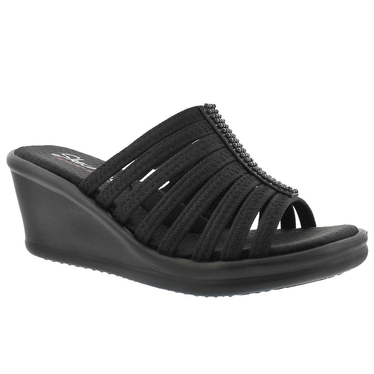 Women S Hotshot Black Wedge Sandals