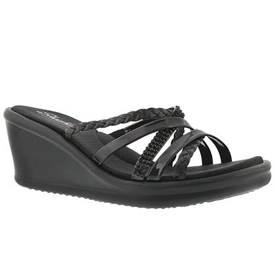 Lds Wild Child black wedge sandal