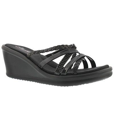 Skechers Women's WILD CHILD black wedge sandal