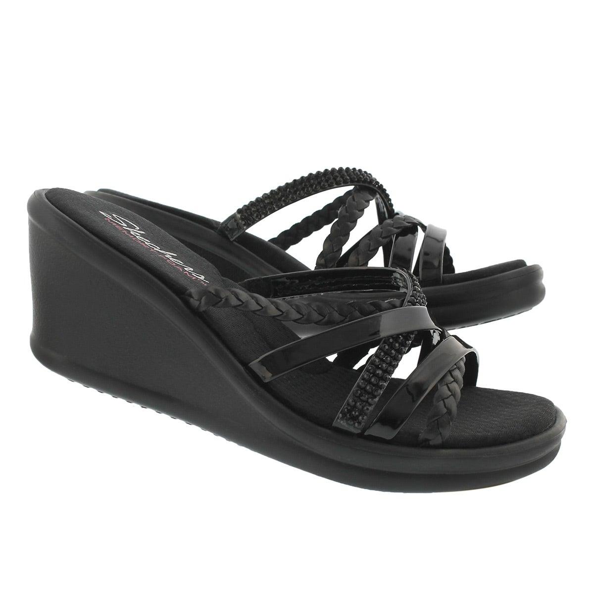 Lds Wild Child black wedge sandal