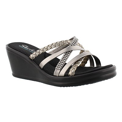 Lds Wild Child pewter wedge sandal