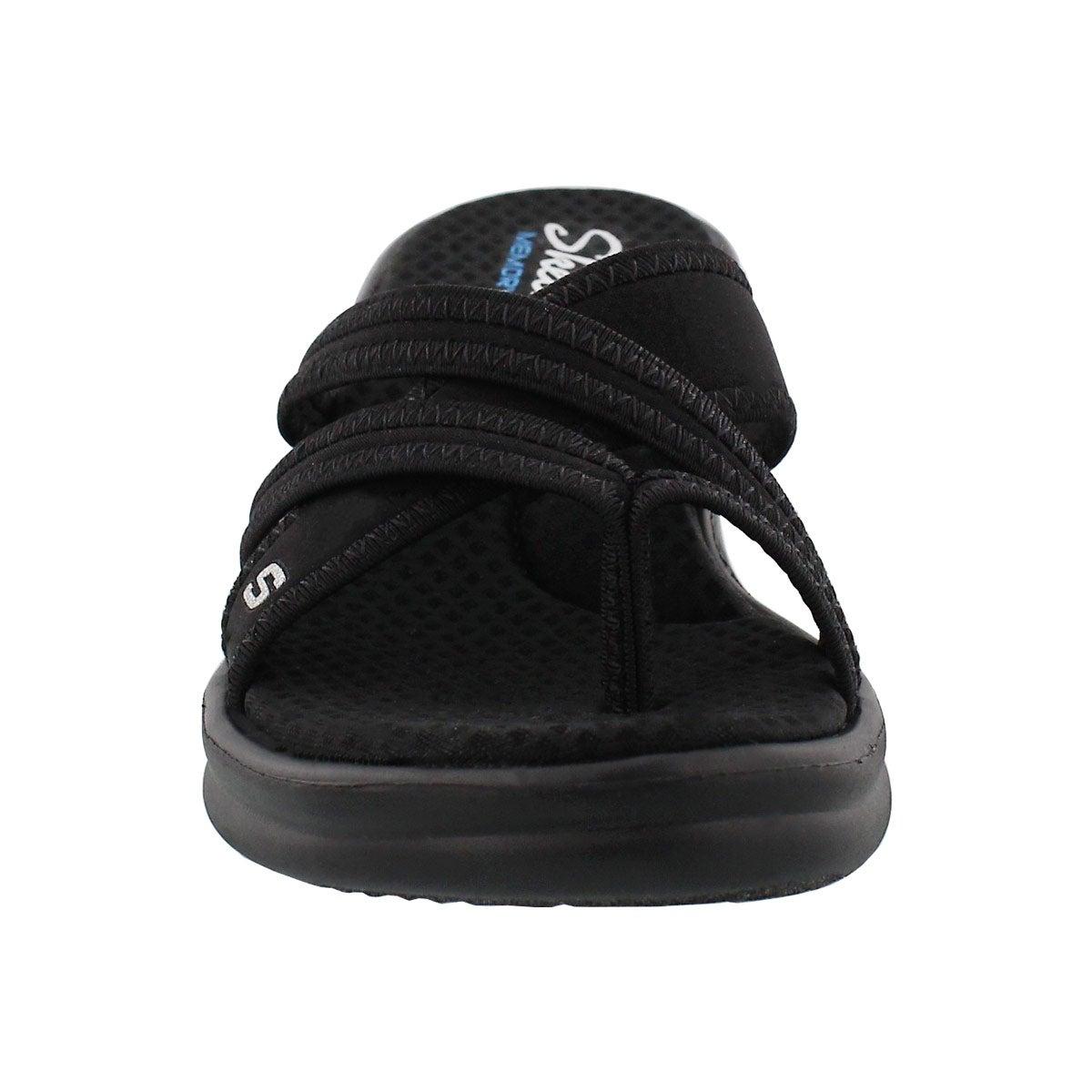 Lds Rumblers blk toe loop wedge sandal