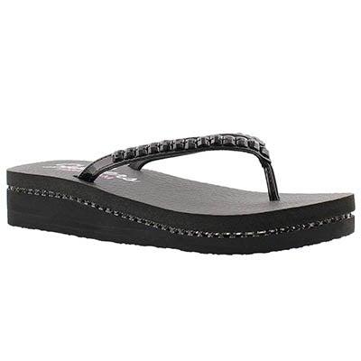 Skechers Women's VINYASA black patent wedge flip flops