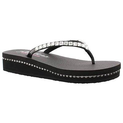 Skechers Women's VINYASA blk patent/silver wedge flip flops