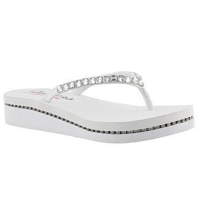Skechers Women's VINYASA wht patent/silver wedge flip flops
