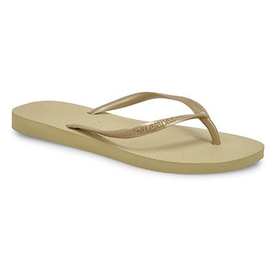 Lds Slim sand grey/lt gold flip flop