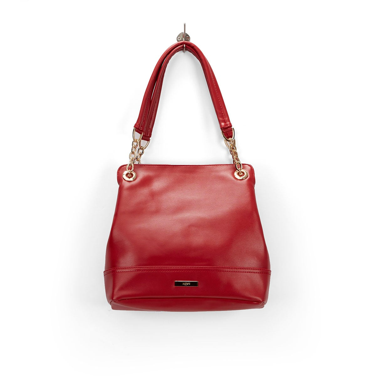 Lds Chain red double strap shoulder bag