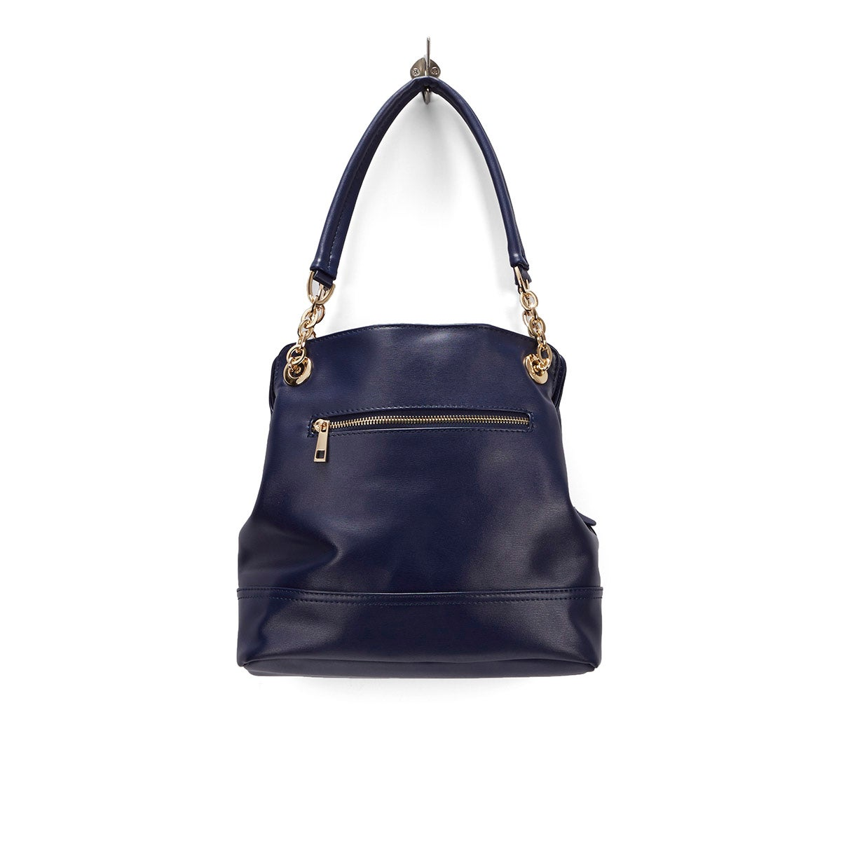 Lds Chain navy double strap shoulder bag