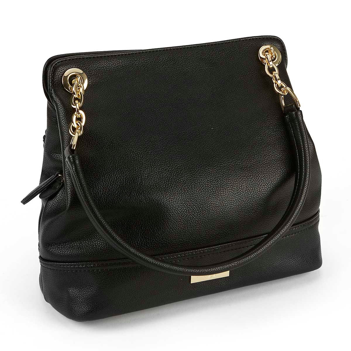 Lds Chain blk double strap shoulder bag