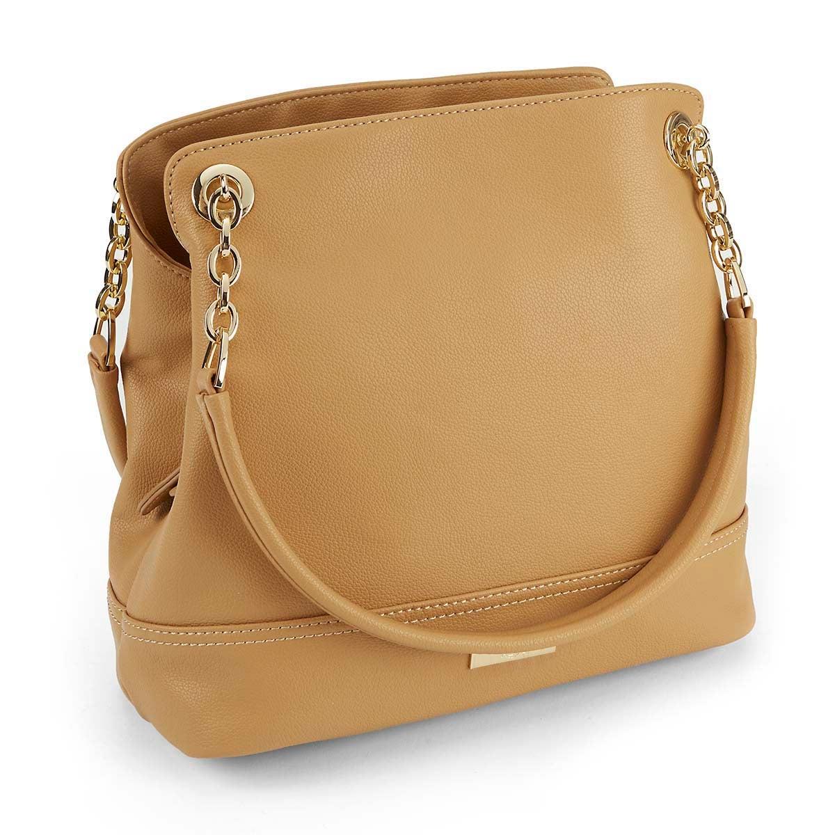 Lds Chain sand double strap shoulder bag