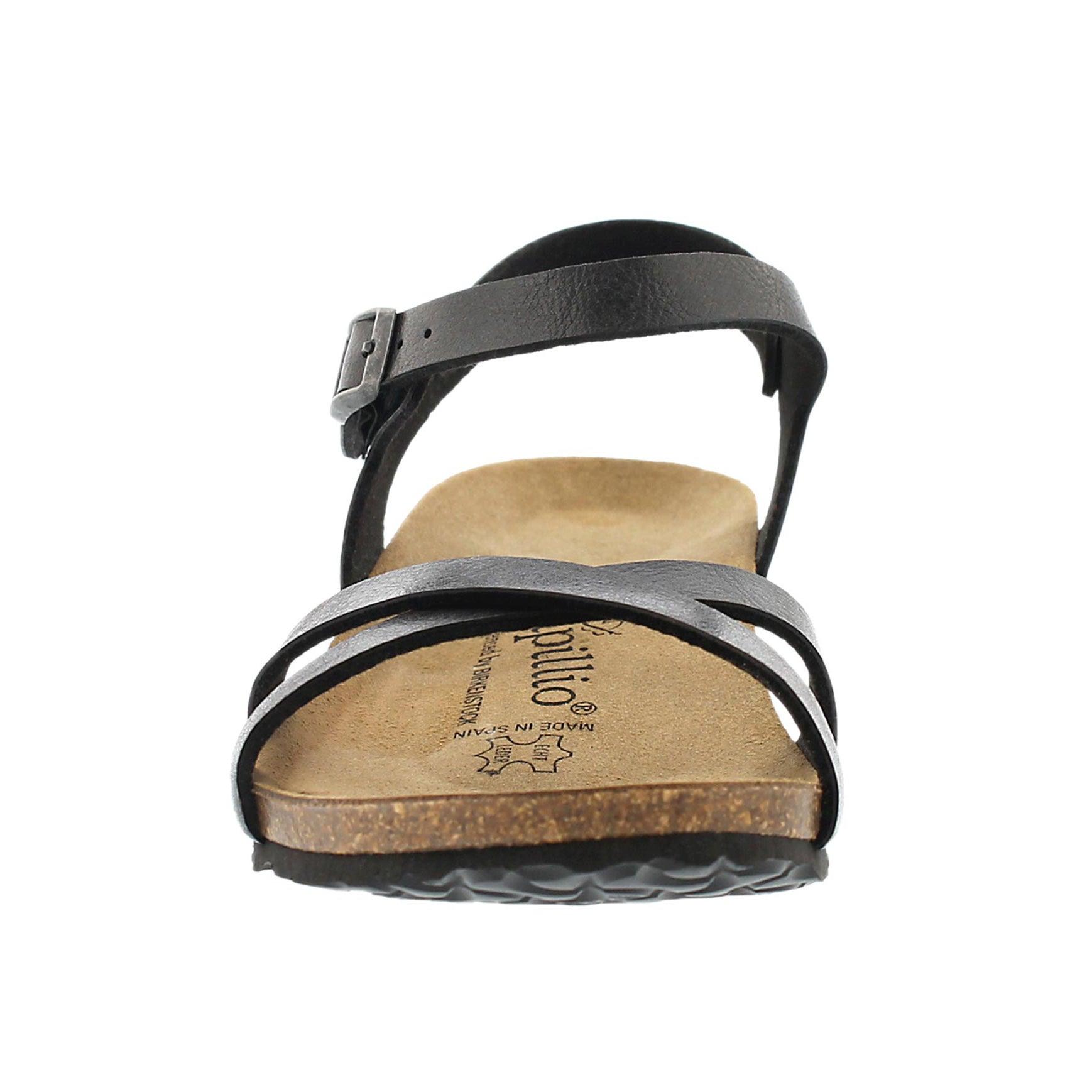 Lds Alyssa blk cork footbed sndl-Narro