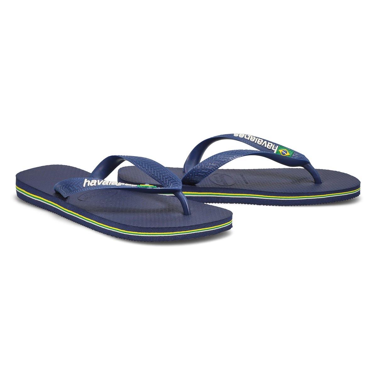 Lds Brazil Logo navy blue flip flop