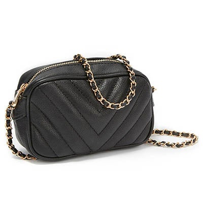Co-Lab Women's 4169  black quilted mini cross body bag