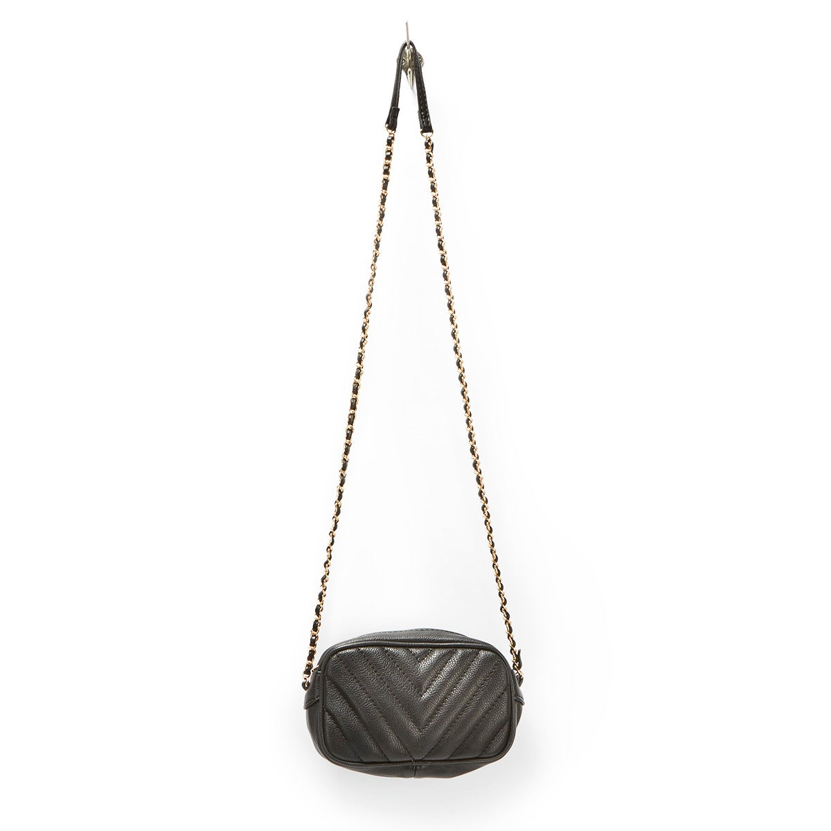 Lds black quilted mini cross body bag