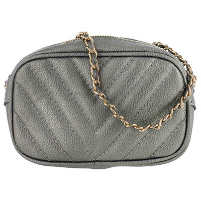 Co-Lab Women's 4169  pewter quilted mini cross body bag