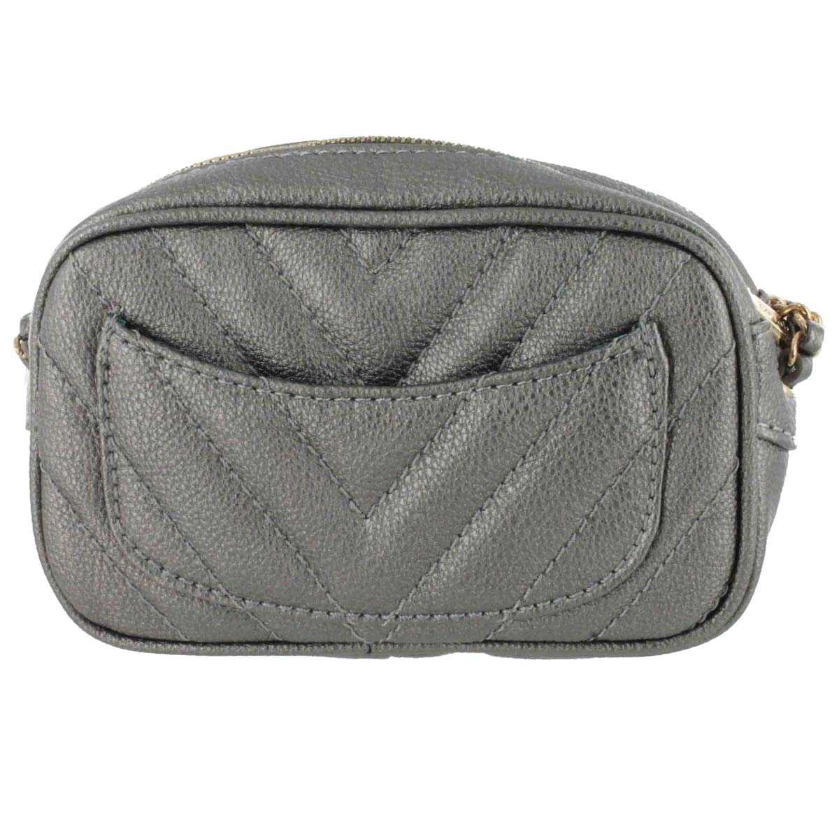 Lds pewter quilted mini cross body bag