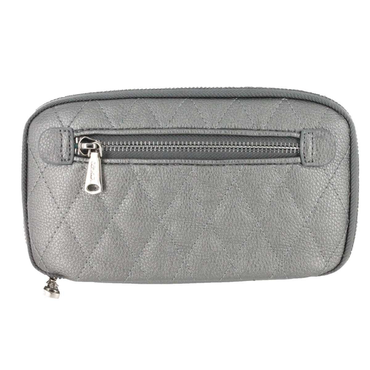 Zip Around pewter quilted wallet