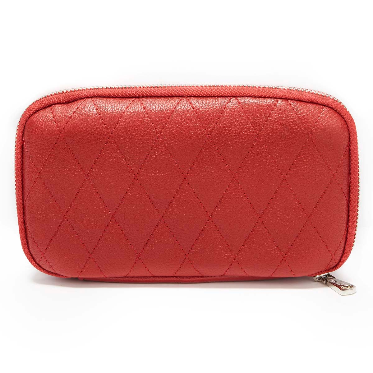 Zip Around red quilted wallet